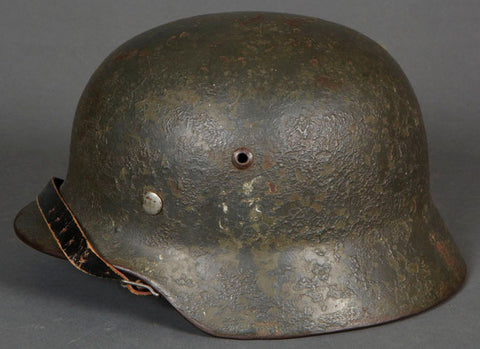WWII German Model 1935 Army Helmet, Former Double Decal, Now Camouflage