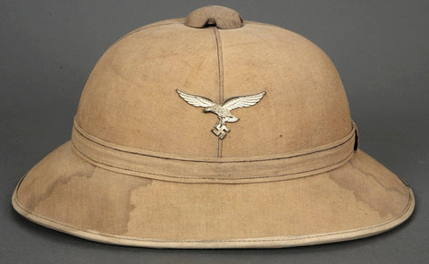 Scarce, WWII German Luftwaffe Tropical Pith Helmet, Tan Canvas