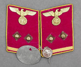 WWII German Reich Level Political Leader Collar Tab Set w/Attached RZM Probe Tag