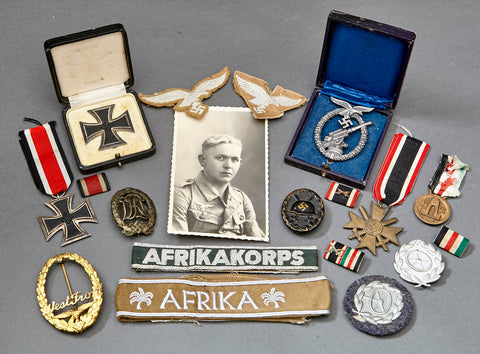 WWII German Luftwaffe Afrikakorps Medal and Insignia Grouping