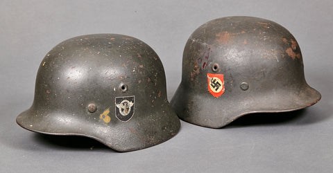 PAIR of WWII German Police Model 1940 Double Decal Combat Helmets