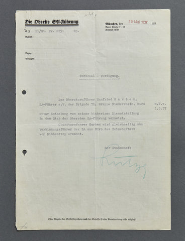 WWII Letter Signed by SA Stabschef Viktor Lutze