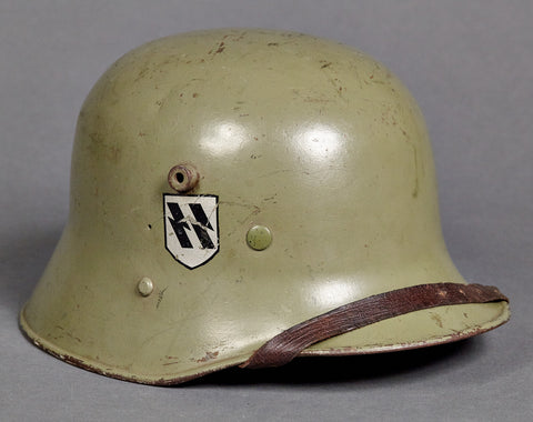 MEGA SCARCE!!!  German Waffen SS Model 1916 Helmet with Mirror Runic Decal