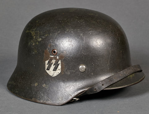 German Model 1935 Waffen SS Double Decal Reissue Helmet w/Two Great Features