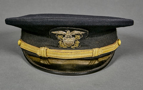 WWII (we believe) US Navy Officer Blue Visor Cap, Named