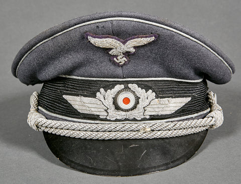 WWII German Luftwaffe Officer Visor Cap
