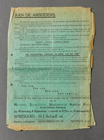 Dutch WWII National Socialist Notice to the Workers