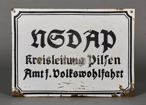 NSDAP NAZI WWII Sign for the National Socialists Welfare Headquarters in Pilsen