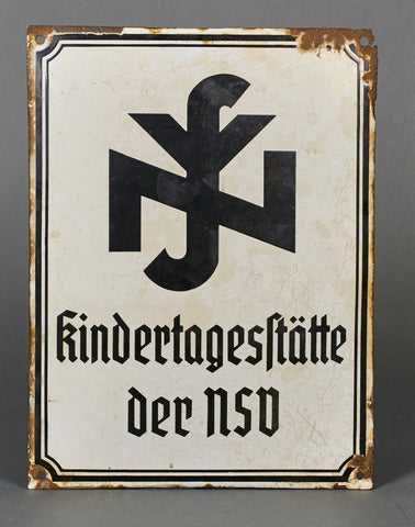 Large NAZI WWII Political Enameled Sign for National Socialist Welfare Organization