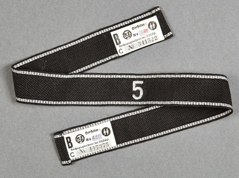 "WWII German Cufftitle for Allgemeine-SS Standarte ""5"", with Double RZM Tags"