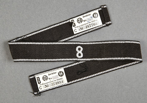 "WWII German Cufftitle for Allgemeine-SS for Standarte ""8"", with Double RZM Tags"