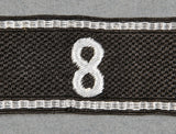"Cufftitle for Allgemeine-SS for Standarte ""8"", with Double RZM Tags"