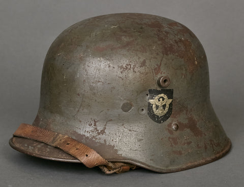 WWII German Model 1916 Police Double Decal Transitional Helmet