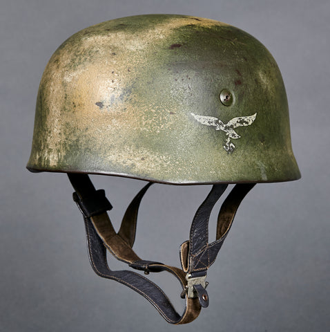 WWII German Luftwaffe Model 1938 Paratrooper SD Camo Helmet