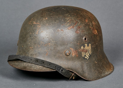 WWII German Model 1942 Army Single Decal Helmet, Out of the Woodwork