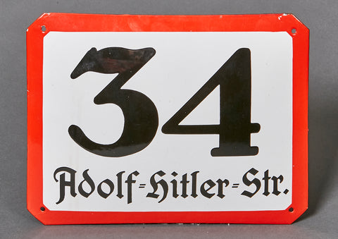 WWII German Adolf Hitler Str. Street Sign