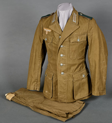 Army DAK Model 1942 Tropical Tunic and Short Set for Motorcycle Recon Enlisted Man