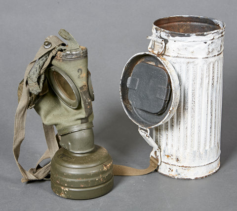 German WWII Gas Mask and Canister