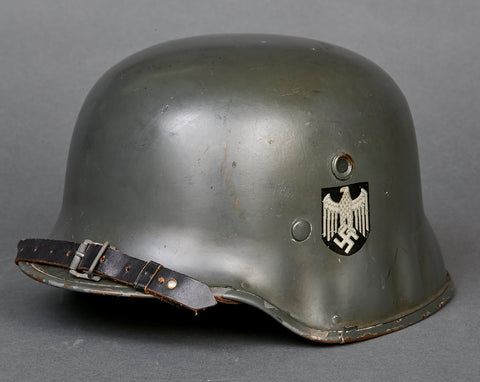 Excellent, Named, German Army Double Decal Fiber Officer's Parade Helmet