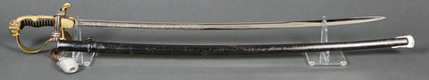 WWII German Army Calvary Officer's Sword with Triple Engraved Blade