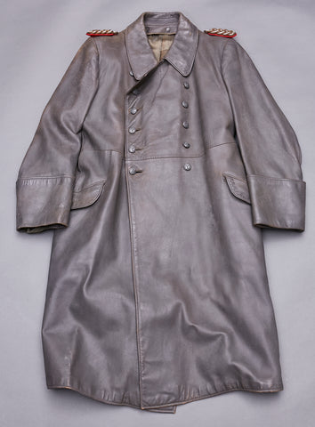 WWII German Army General Leather Great Coat
