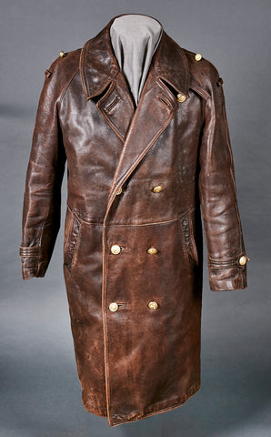 WWII German Navy Officer's Brown Leather Great Coat