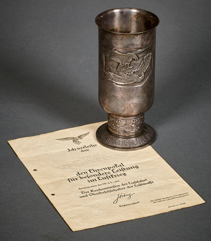 Luftwaffe Honor Goblet for Unteroffizier Georg Geissler with Document