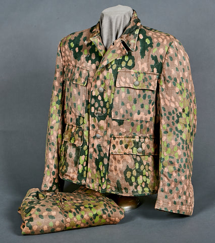 WWII German Waffen SS Model 1944 Pea Dot Camouflage Tunic and Trouser Set