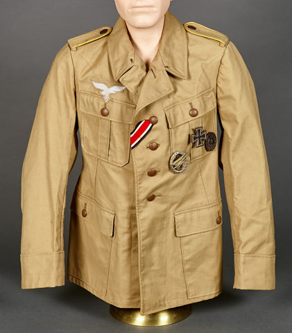 "WWII German Luftwaffe Tropical Service Blouse for ""Other Ranks"" Flight/Paratrooper Personnel"