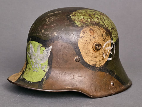 Army WWI Model 1916 German Camouflage Helmet Issued to a Machine Gun Unit