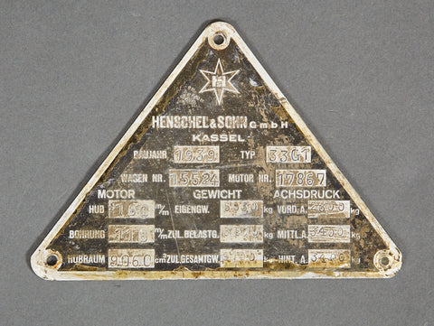 WWII German Vehicle ID Data Plate