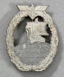 WWII German Kriegsmarine Auxiliary Cruiser War Badge by Friedrich Orth