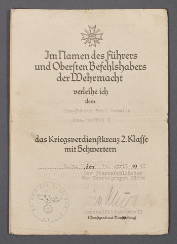 Award Document for KVK II Signed by Generalfeldmarschall G