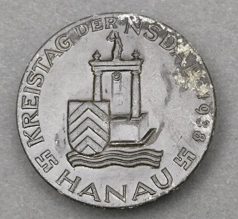 "Third Reich ""Kreistag der NSDAP 1938 Hanau"" Tinnie; Solid-Backed"