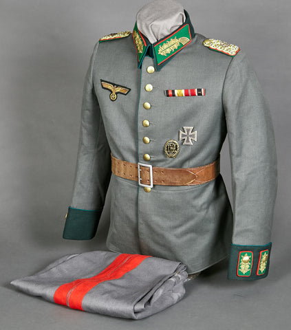 WWII German Army Administration General Major Named Waffenrock with Trousers and eReL Visor Cap