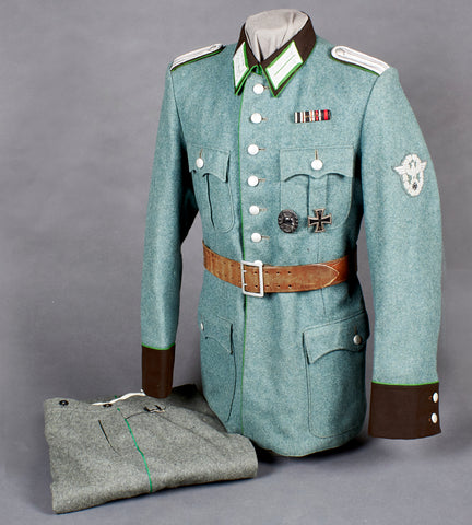 WWII German Schutzpolizei Officer Four Pocket Tunic w/Trousers