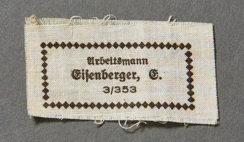 WWII German RAD Uniform or Cap Cloth Name Tag
