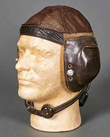 WWII German Luftwaffe Summer Flyer Helmet (L. Kp N 101) w/Avionics and Throat Microphone