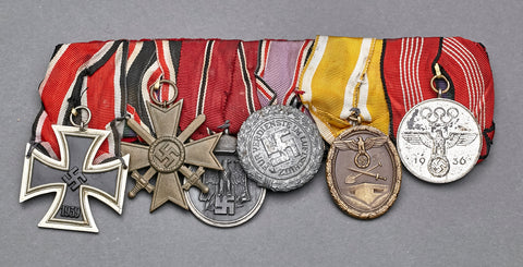 WWII German Six Medal Bar w/Olympic Medal