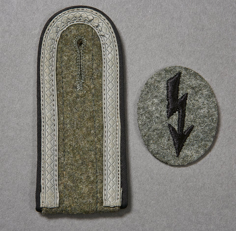 WWII German Engineer NCO Shoulder Board and Signals Blitz