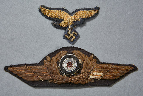 WWII German Luftwaffe General eReL Visor Cap Insignia Set