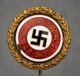 Third Reich 24mm NSDAP Golden Party Badge by Fuess, Stick Pin Version