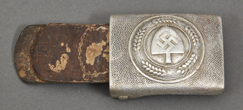 "WWII German RAD ""Other Ranks"" Belt Buckle w/Leather Tab"