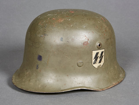Scarce SS/SD Double Decal Helmet with Veteran Info