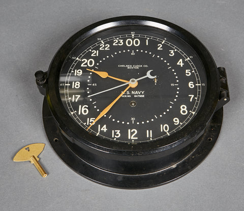 WWII US Navy 24 Hour Military Clock by Chelsea Clock, Boston