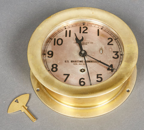 WWII US Maritime Commission 12 Hour Clock by Chelsea Clock, Boston