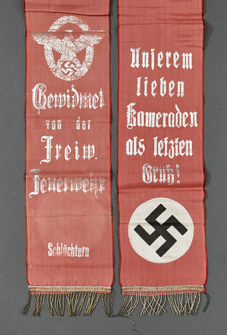 WWII German Funeral Sash for Volunteer Fire Brigade Member