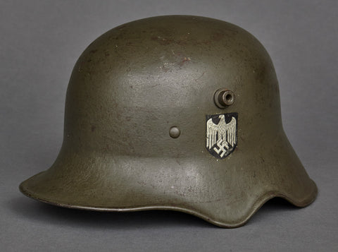 "WWII German Model 1918 ""Ear Cut Out"" Double Decal Army Transitional Helmet"