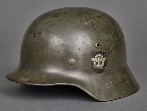 WWII German Model 1935 Police Reissue Helmet, Originally Double Decal SS