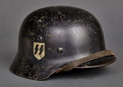 WWII German Model 1935 Allgemeine SS Double Decal Helmet, Named